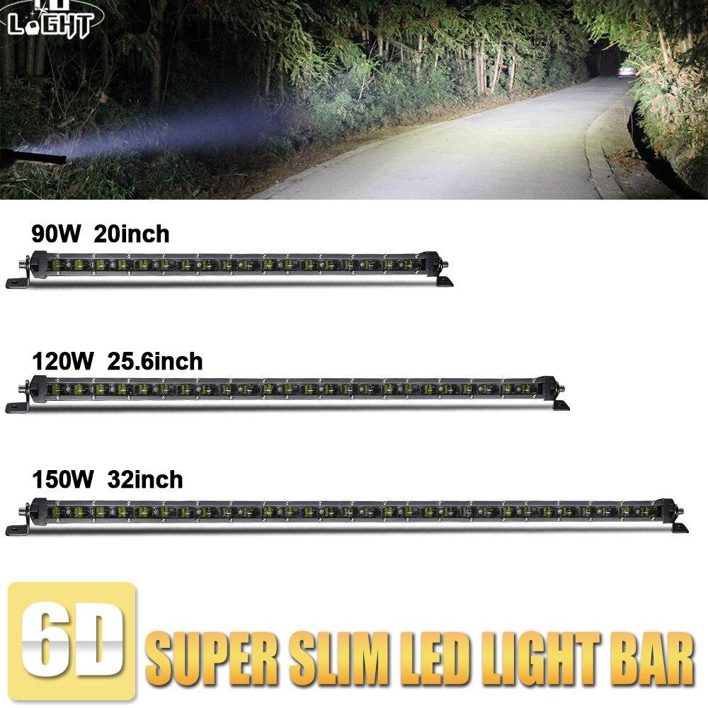 Со светом 6D 20 25,6 32 со светодиодной подсветкой диагональю Bar 150 Вт 120 Вт 90 Вт авто светодиодные свет работы бар для Jeep Toyota Лада Off Road 4x4 ATV 12V24V ко...