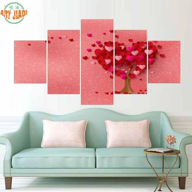 4 piece or 5 Piece Canvas Art PETAL HEART SHAPED TREE ON THE WALL HD ...