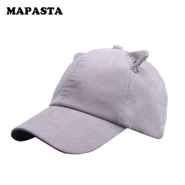 MAPASTA new autumn and winter cat ears cap baseball cap ultra-Meng fashion caps women solid corduroy cap
