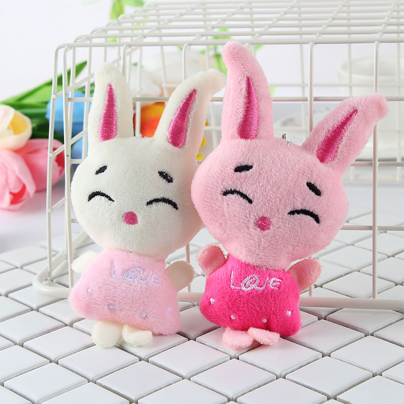 Kids Plush Toy Keychain Key Cover Caps Ring Doll Bag Rabbit Charm Girls Car Ornament Lovely Stuffed Animal Fur Soft Toys Novelty