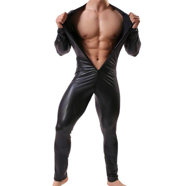 Sexy Hommes Long Pantalon Combinaisons Faux En Cuir Justaucorps Costume Gay  Sous-Vêtements Homme Shirt bf043820efa