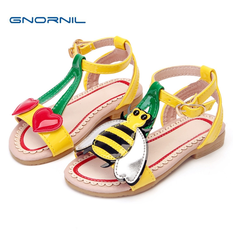 Children Shoes Girls Sandals 2018 Summer Fashion Cute Cartoon Love Cherry Bees PU Leather Soft Toddler Baby Shoes Kids Sandals