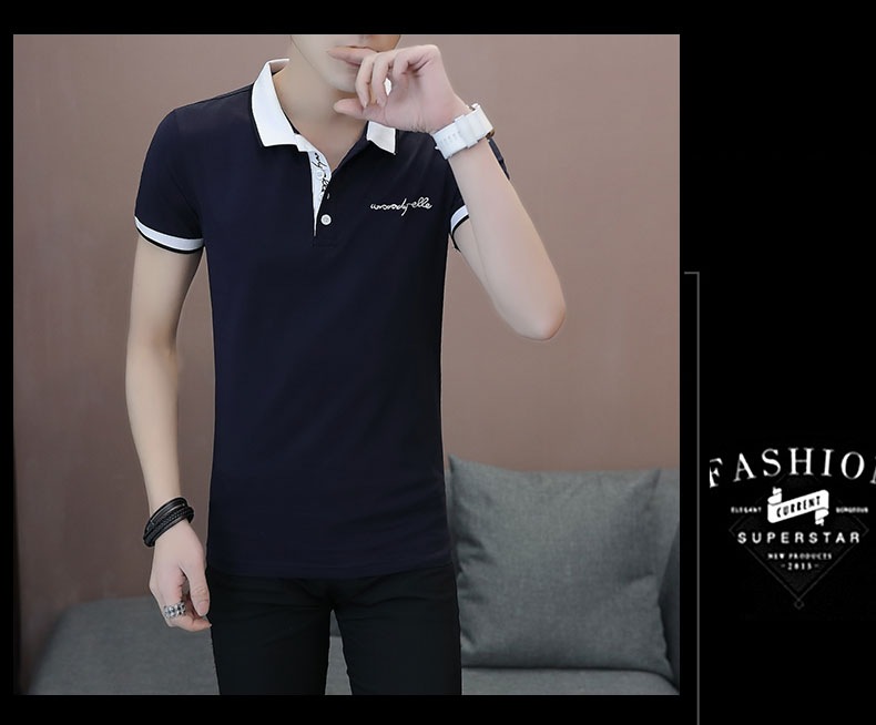 Short-sleeved T-shirt men's fashion casual cotton clothes decorated with multi-color optional 89