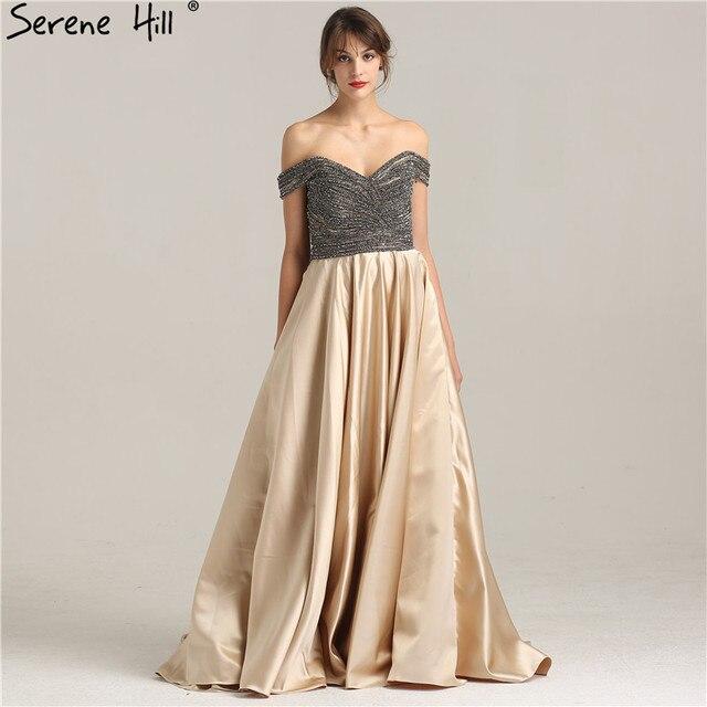 От Shouler Сексуальная Бисер модные роскошные A-Line платье для выпускного вечера кристалл алмаза атласные вечерние Выпускные платья 2018 спокойной Hill la6252