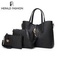 Herald Fashion 3Pcs/Sets Women Handbags Leather Shoulder Bags Female Large Capacity Casual Tote Bag Bucket Purses And Handbags