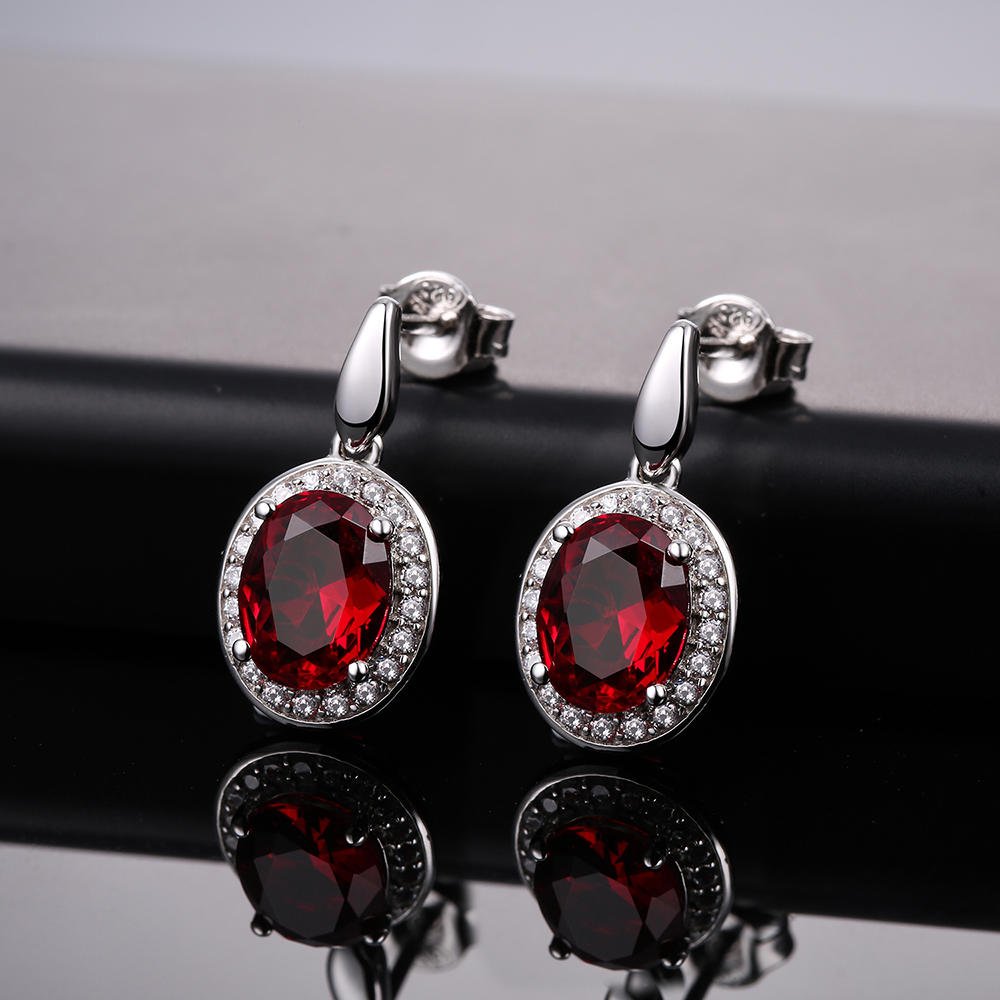 DOUBLE-R 2.8ct Created Oval Ruby Gemstone 925 Earrings Zircon Sterling Silver Earring