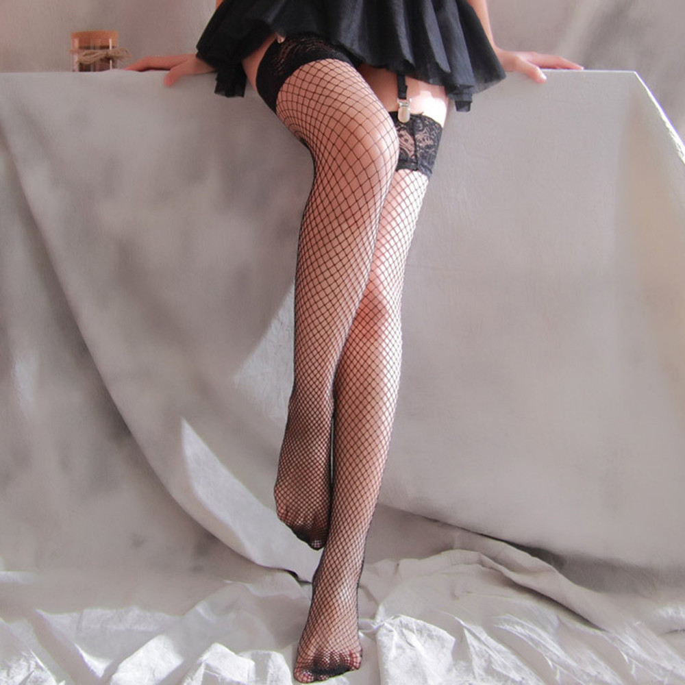 Sexy Women Hollow Out Fishnet Stockings Tights Tie Up Over Knee Lace Sheer Stocking