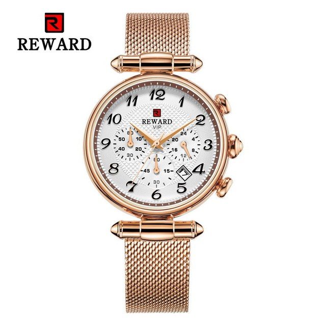 REWARD Brand Fashion Luxury Stainless Steel Mesh Strap Women's Watch For Women Relogio Feminino Women Watch Movement Date Watch | Fotoflaco.net