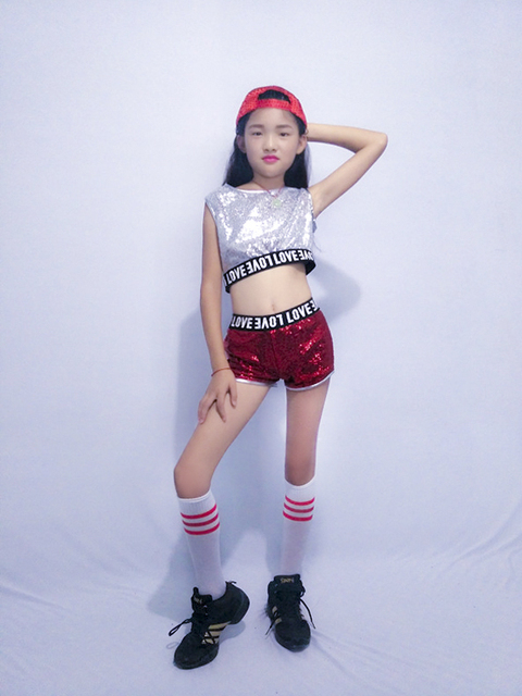 4fac1848d US $23.99 |New Children Sequins Jazz Dance Costumes Girls Modern hip hop  Set top and shorts on Aliexpress.com | Alibaba Group