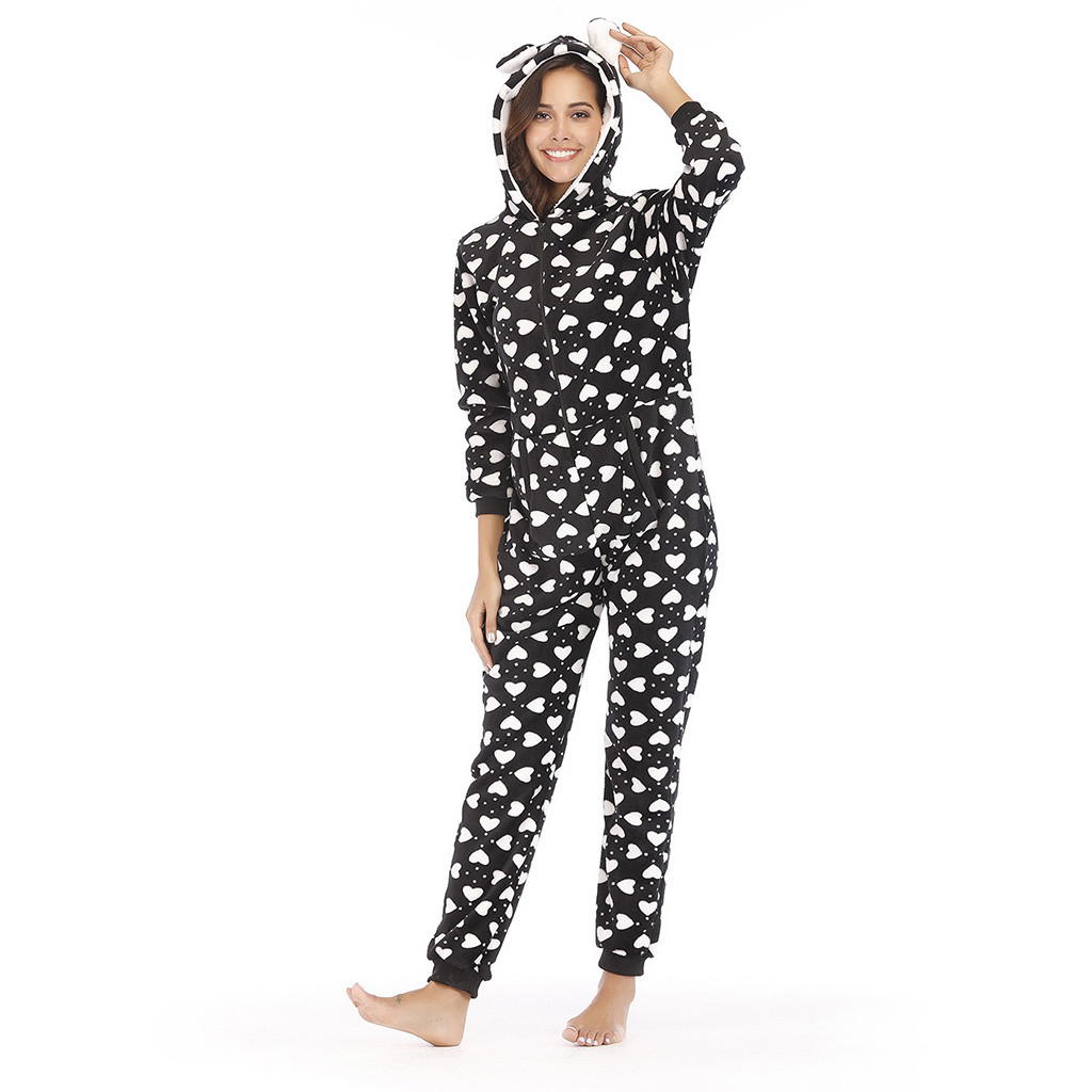 Womens Printing Hooded Flannel Rompers Womens Jumpsuit Summer Long Sleeve Onesies Tracksuit Full Length Jumpsuit