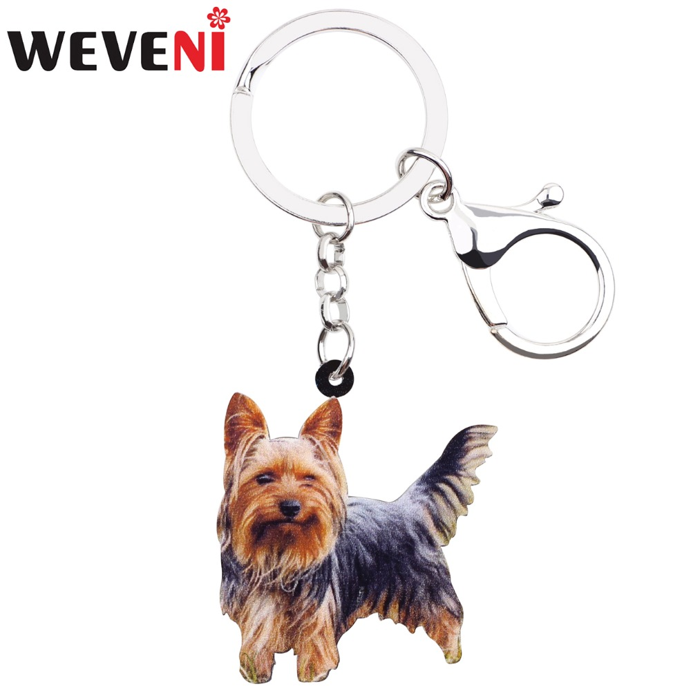 WEVENI Acrylic Winking Yorkshire Terrier Dog Key Chains Animal Keyrings For Women Girl Ladies Holder Car Key Charms Kids Gift