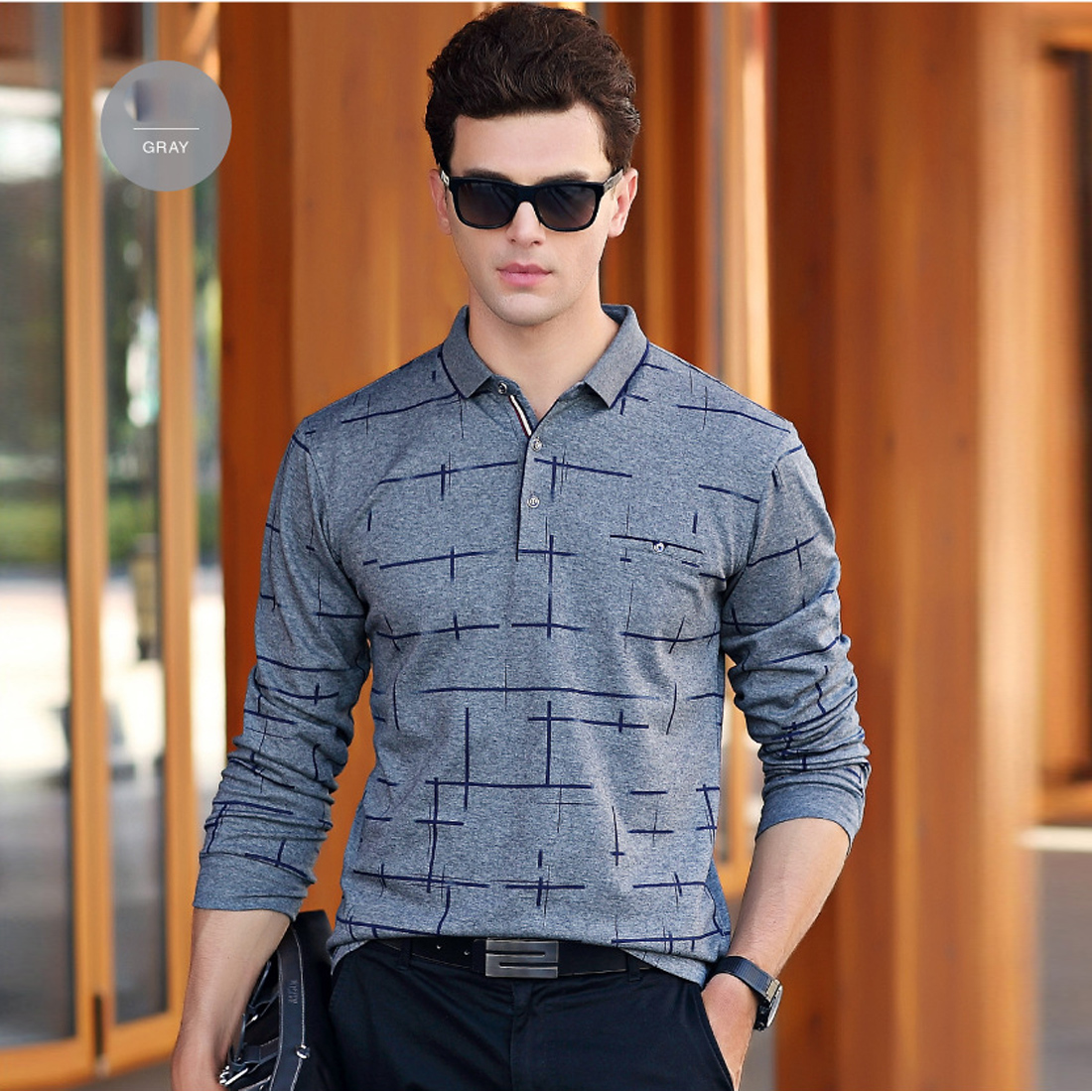 Men Home Work Polo Shirt Plus Long Sleeve Autumn Spring Business ...