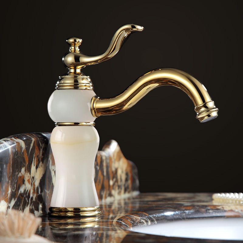 High Quality Bathroom Luxury Gold Brass Jade Hot And Cold Water Tap Golden European Basin Faucet