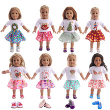Cute Christmas Doll Clothes+Skirt Fit 18 Inch American 43cm Baby Doll Clothes Accessories,The Best Christmas Gift For Children doll clothes accessories white down jacket fit 18 inch american girl doll clothes best gift for