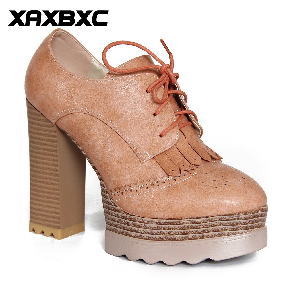XAXBXC Retro British Style Leather Brogues Oxfords Tassels Lace Up High Heels Women Shoes Thick Heel Handmade Casual Lady Shoes keddo womens lace up brogues
