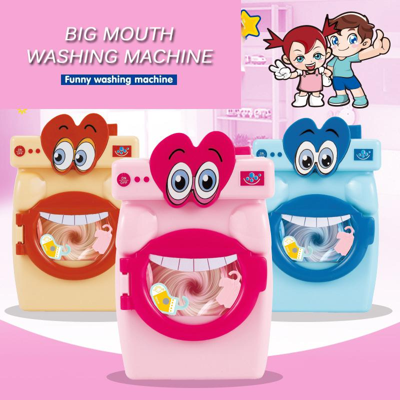 Mini Simulation Washing Machine Toys Kids Funny Cartoon Big Mouth Washing Machine Toys Children Play House Pretend Toy Set