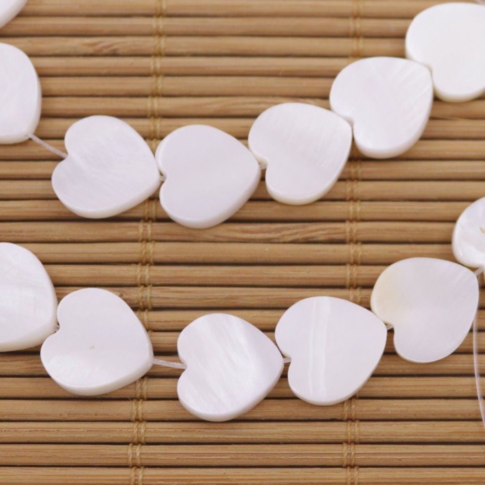 "Купить с кэшбэком 12mm Heart Shell Natural White Mother of Pearl Loose Beads 15"" Jewelry Making"