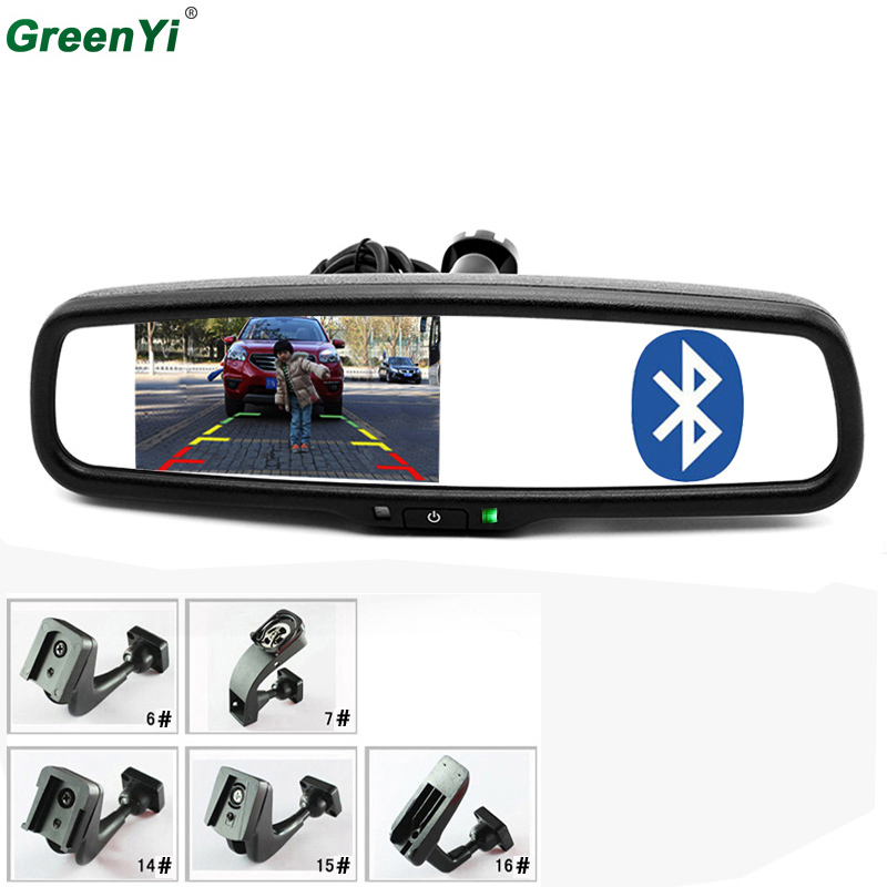 """4.3"""" TFT LCD Car Rear View Bracket Mirror Monitor Parking Assistance With 2 RCA Video Player Input BT Bluetooth/FM/Speaker/Mic"""