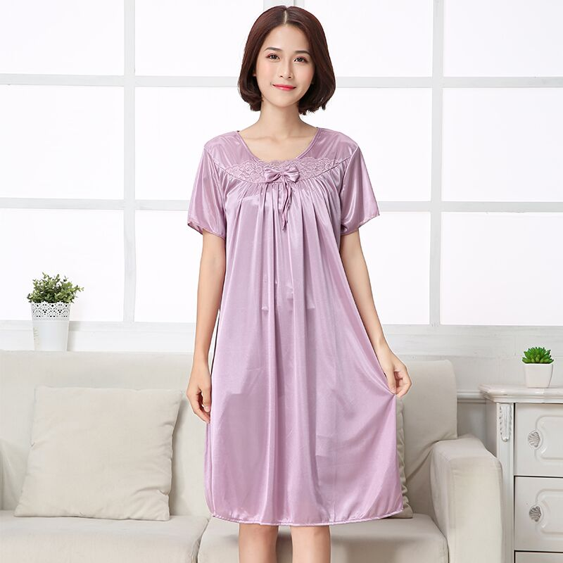 2019 Sexy Women   Nightgowns   &   Sleepshirts   Summer Short Sleeve O Neck Nightdress Solid Lace Transparnet Hollow Out Dress