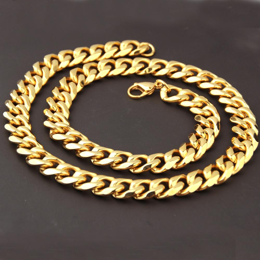 12mm Wide Hip Hop Men Necklace Chains Fashion Solid Gold Color Filled Curb Cuban Long Necklace DIY Chain Charm Unisex Jewelry in Chain Necklaces from Jewelry Accessories
