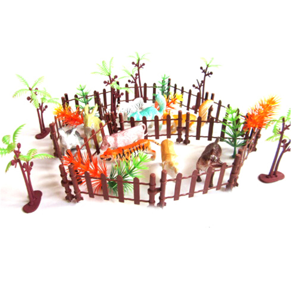 Fence Toys Plastic Animals Kinds Simulation-Zoo Children for Kid Containing Small Various