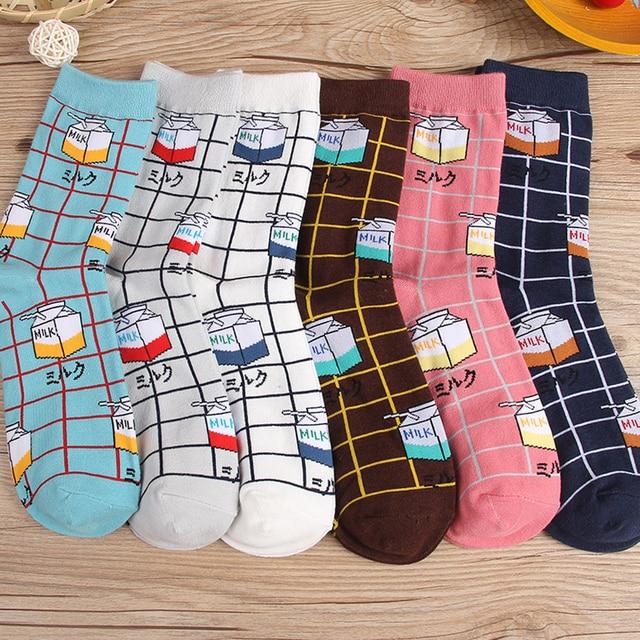 Fashion animal cartoon lady / men kawaii sheep giraffe milk pattern socks cute Harajuku street trend casual funny Japanese Korea 2
