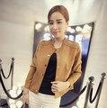Ранняя Осень 2016 Новый Ретро Замши Случайные Куртка Женщин О-Образным Вырезом Кисточка Пальто 3 Цвета Куртки Mujer