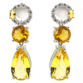 Pretty Drop Created Golden Citrine, White CZ SheCrown Woman's  Silver Earrings 38x11mm