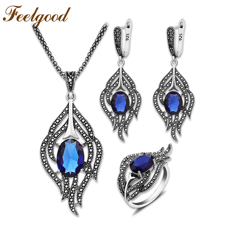 Feelgood Vintage Silver Color Feather Jewelry Set With Blue Crystal And Black Rhinestone For Women Wedding Party bijouterie dr feelgood