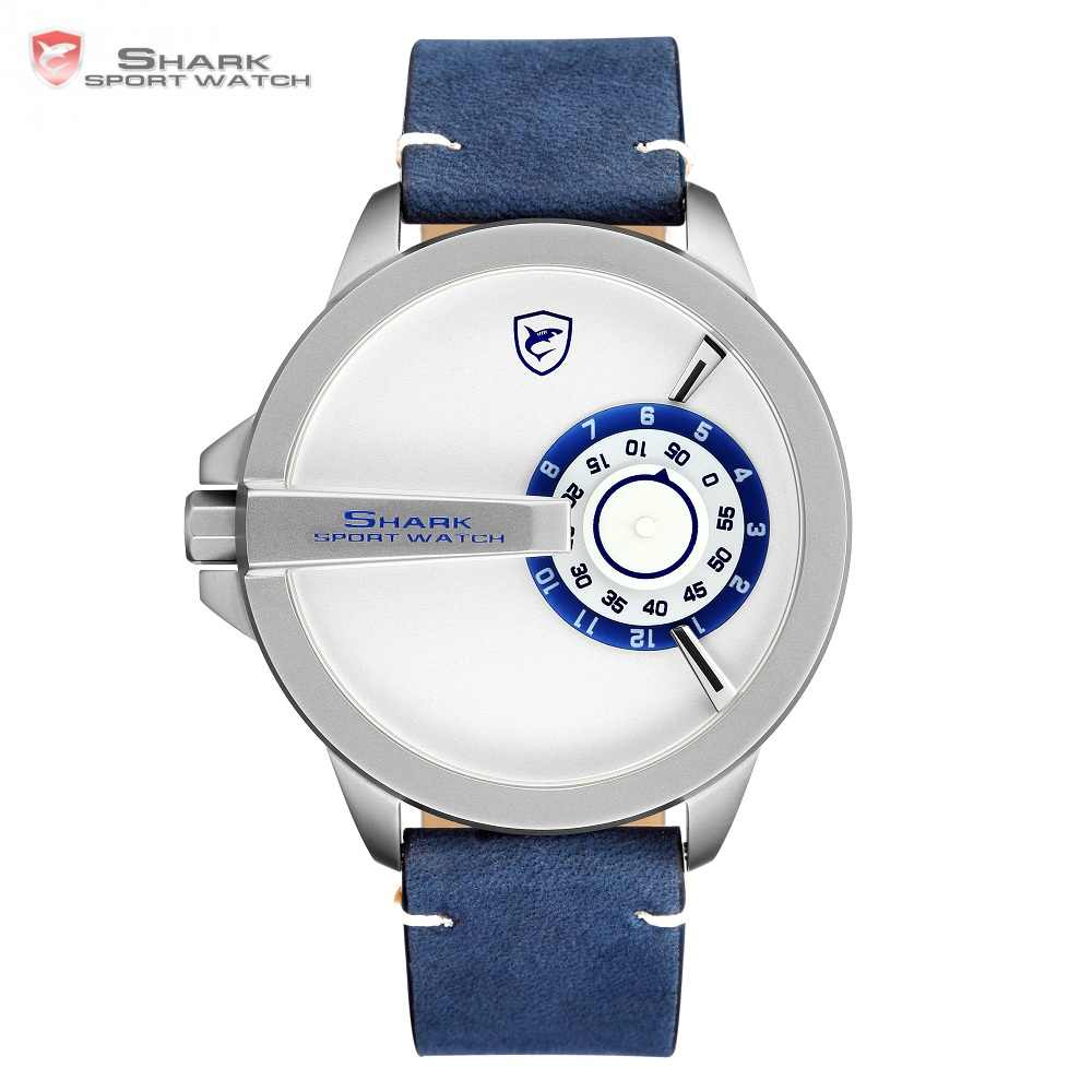 c7573f886 NEW SHARK Sport Watch Turntable Dial Special Design Quartz Crazy Horse  Leather Band Waterproof Men Wrist