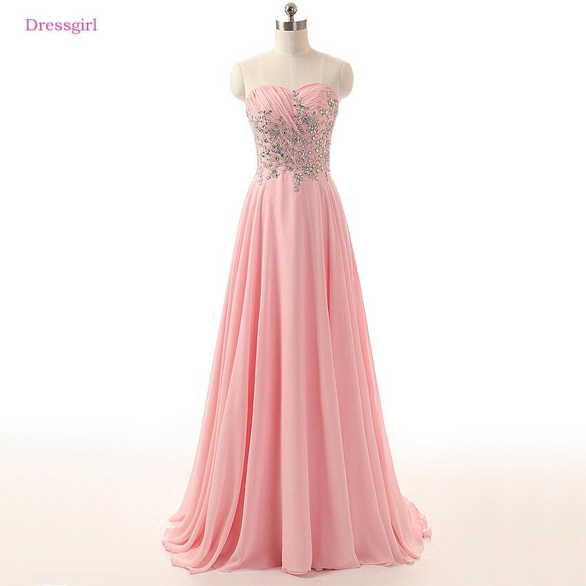 Robes De soirée rose 2019 a-ligne chérie en mousseline De soie dentelle cristaux élégante longue Robe De soirée Robe De bal Robe De soirée