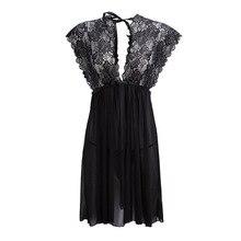 Lace honeymoon nightdress white 2019 voile sexy sleepwear woman nighty for sex off shoulder dress Bridal pajamas PHOENTIN FG021