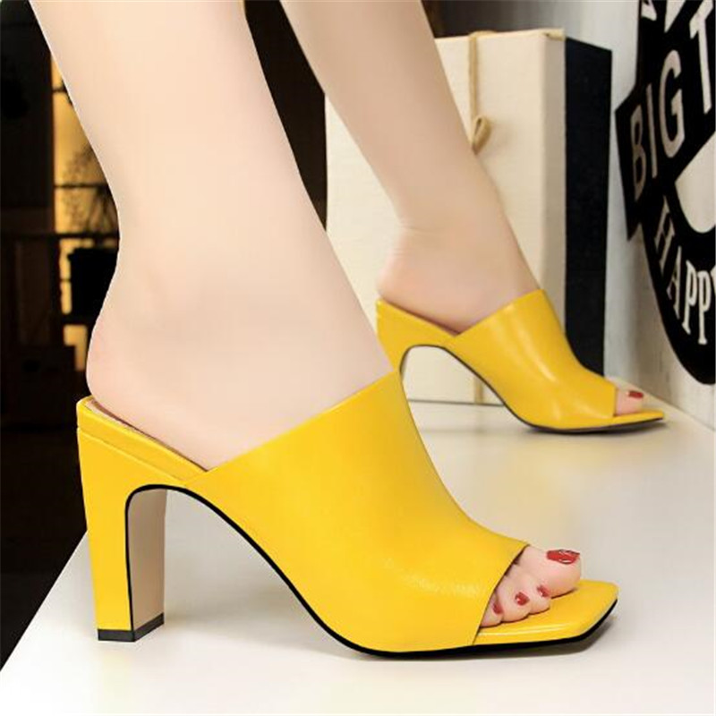 Shoes Women Slippers High-Heels Square Toe Classic Sexy Fashion New Party