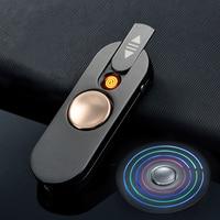Honest Finger Spinner New Fingertips Gyro Lighter Cigarette LED Light Creative USB Charging Gyro Cigarette Lighters