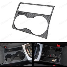 for A udi A4 B8 A5 2009 2015 Carbon Fiber 3D Stickers Water Cup Holder Frame