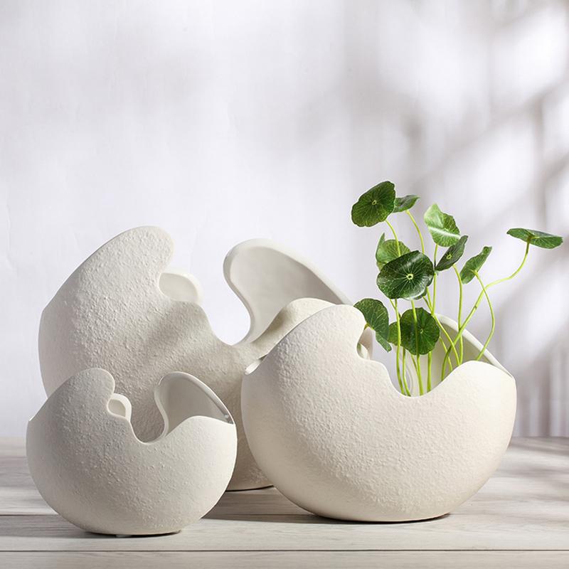 nordic creativo hecho a mano blanco de cermica moderna florero de cscara de huevo en forma