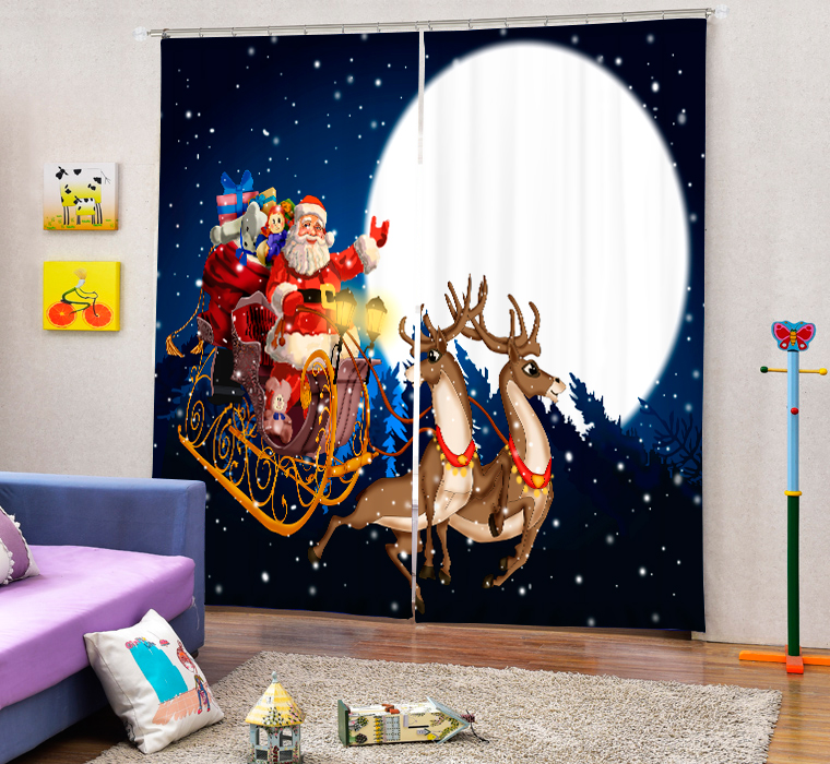 Christmas Santa Claus And Deers 3D Painting Blackout Curtains Office Bedding Room Living Room Sunshade Window Custom made Size - 2