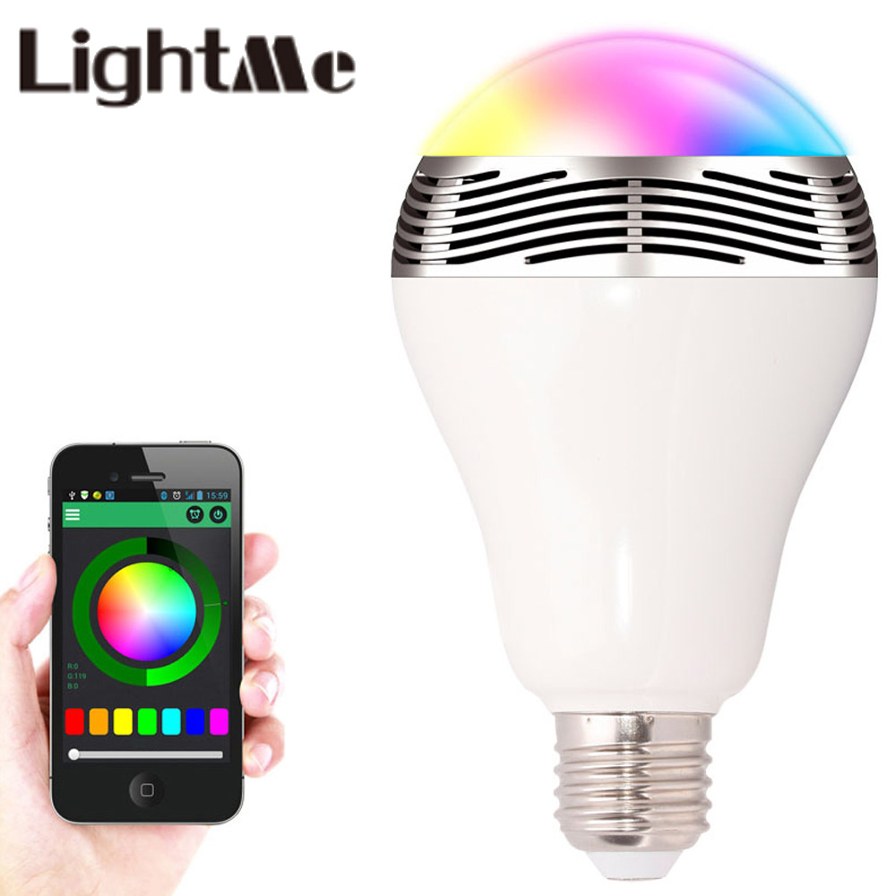 LightMe Smart E27 6W RGB LED Bulb Bluetooth Smart Remote Control Lighting Lamp Colorful Dimmable Speaker Lights Bulb New Style lightme smart e27 light bulb intelligent colorful led lamp bluetooth 3 0 speaker for home stage energy saving led light bulbs