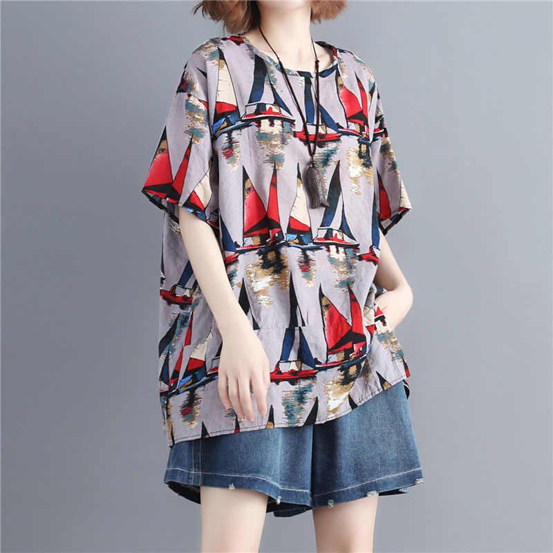 Big Size Baggy T-Shirt Loose Summer Short-Sleeved Tops O-Neck Casual Sailboat Print Women Tee Shirt Cotton Linen Comfort Clothes