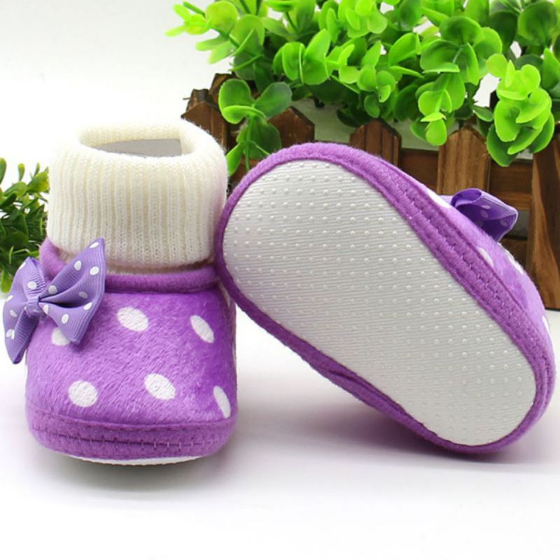 Newborn Baby Girl Bow-knot Fleece Snow Boots Princess Shoes  Booties