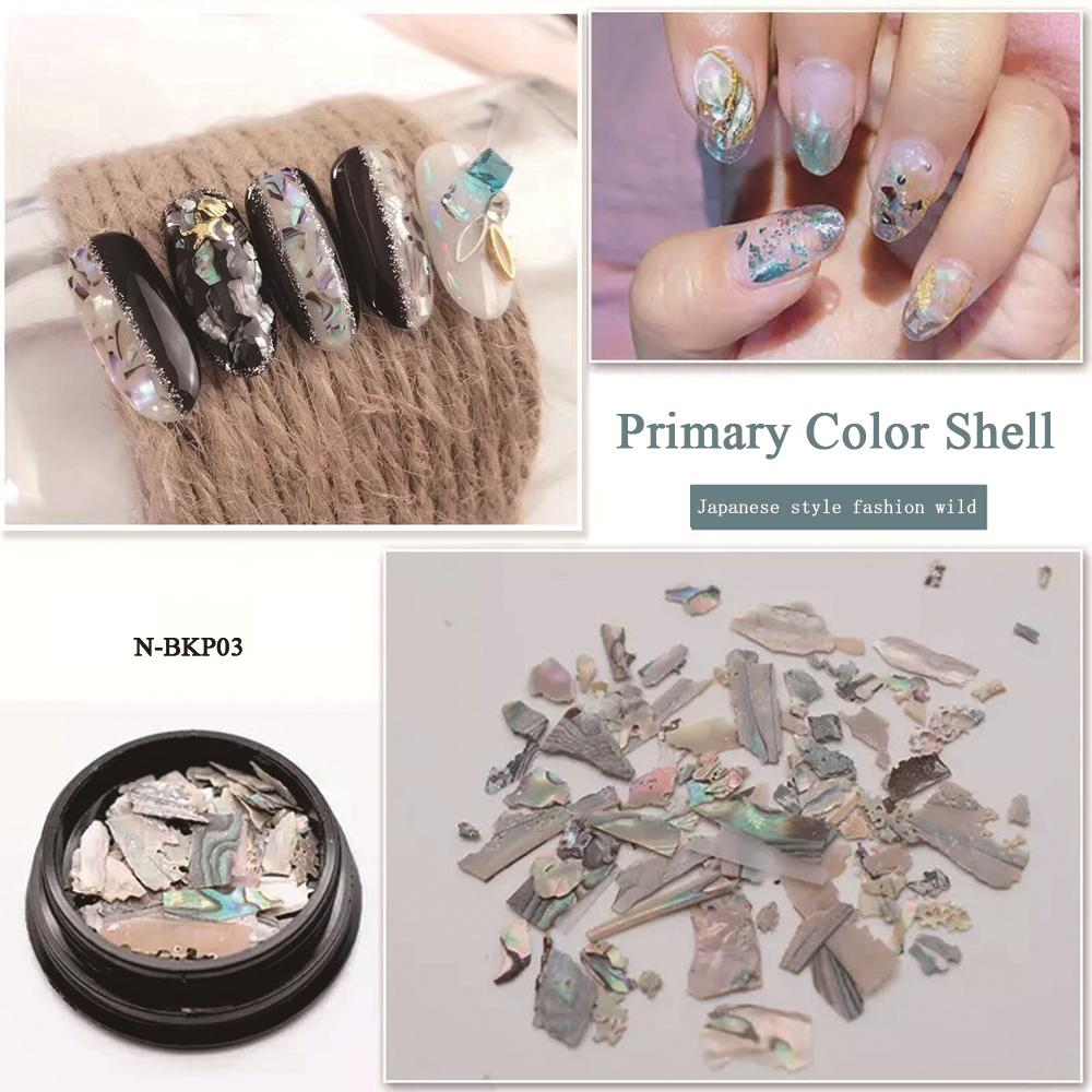 MIZHSE 1 Box Pretty Abalone Shell Piece 3D Charm Nail Art Decorations Slice DIY Beauty Nail Decals Manicure Decoration Jewelry