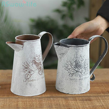 Retro Idyllic Ironwork Watering Pot Decoration Flower Shop Iron Sheet Craft Appliances Can Garden Tool Indoor