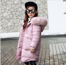 2018 Nueva Moda Niños de la Chaqueta de Invierno de La Muchacha Abrigo de Invierno Los Niños caliente Grueso Cuello de Piel Con Capucha larga abajo Abrigos Para Adolescentes 4Y-14Y(China)