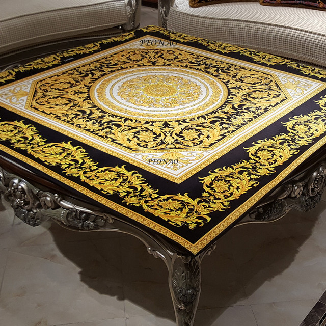 Gold Black Floral Table Covers For Decoration Home Hotel Outdoor Party Table  Slipes Quality Velvet Covers