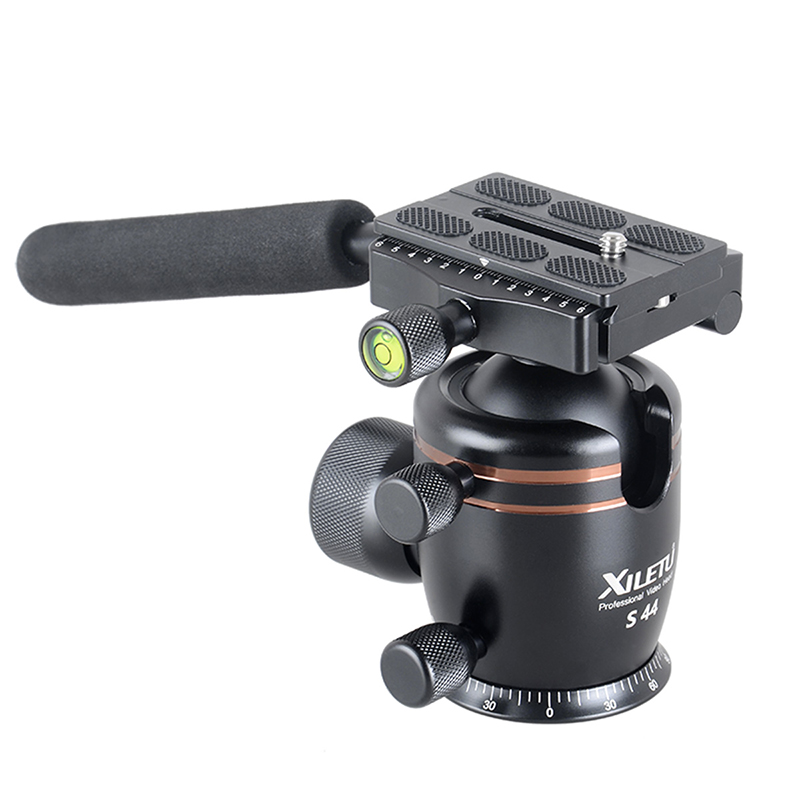 ФОТО XILETU S44 Tripod Ballhead With Removable Handle Grip Especially Suitable For Bird Watching 44mm Large Sphere Max Load 15kg