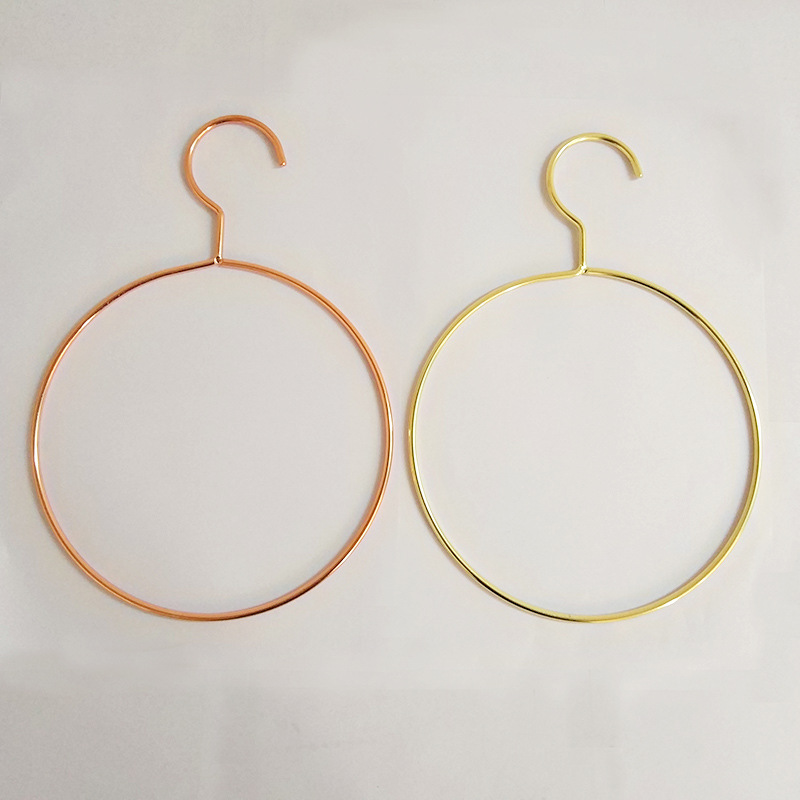 50 pcs Style nordique Rose or métal fer cercle cintre Rack pour écharpe cravate ceinture et serviette vêtements organisateur lin4400