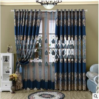 Europe Classic Blue Embroidered Curtains For Living Room Bedroom Luxury Window Drapes Voile