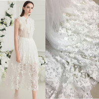 3D Three Dimensional Butterfly Flower Handmade Lace Applique Soluble High End Wedding Dress Fabric