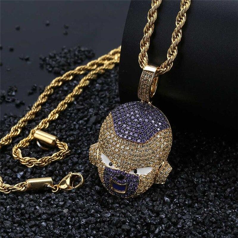Hip Hop Dragon Ball Super personnalisé glacé Bling chaîne cubique Zircon pendentif et collier pour hommes bijoux livraison directe