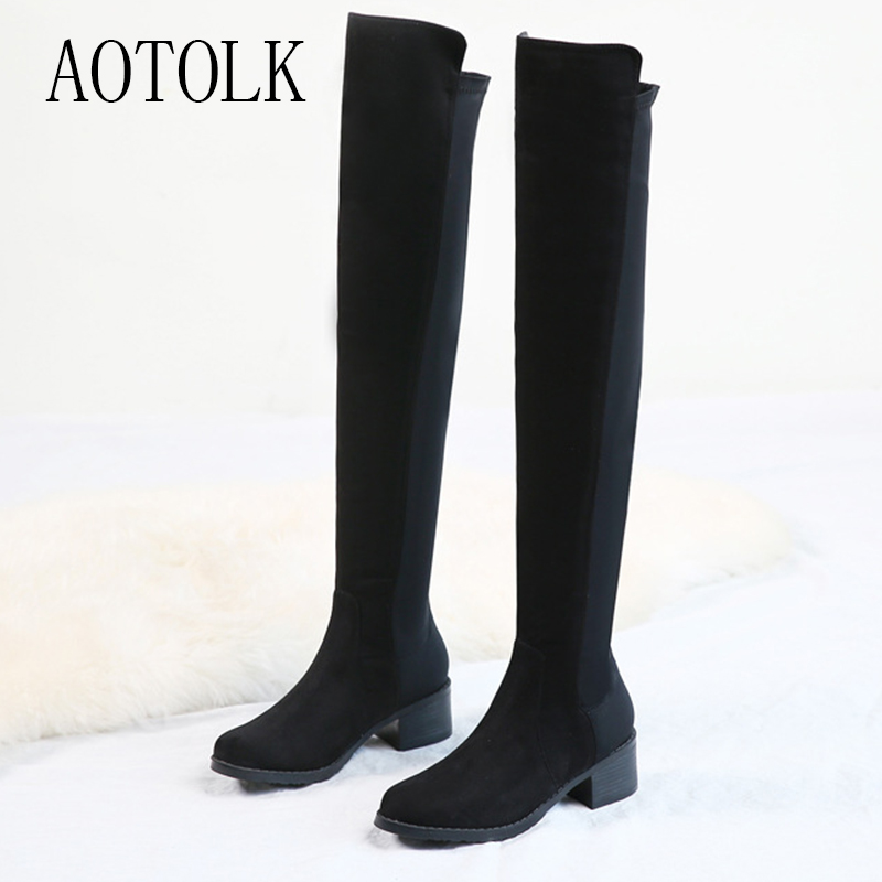 Female Shoes Long-Boots Over-The-Knee Black Woman Winter DE Slip-On Round-Toe